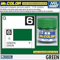 Tinta Gunze Acrílica Mr Color C  6 VERDE Brilho - 10ml