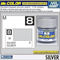 Tinta Gunze Acrílica Mr Color C  8 PRATA Metálico - 10ml