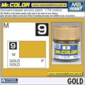 Tinta Gunze Acrílica Mr Color C  9 OURO Metálico - 10ml
