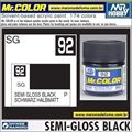 Tinta Gunze Acrílica Mr Color C 92 PRETO Semi-Brilho - 10ml