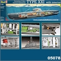 Submarino German U-BOOT TYPE XXI com interior - Revell - 1/144