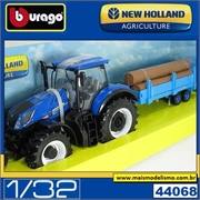 Trator New Holland 17.315 com Carreta Madeira - Bburago - 1/32