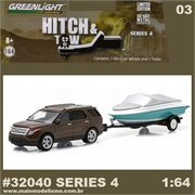 2013 Ford Explorer and Boat Trailer - Greenlight Hitch and Tow - 1/64