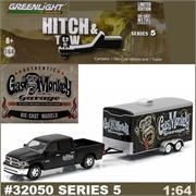 2014 Dodge RAM 1500 and Car Hauler - Greenlight Hitch and Tow - 1/64