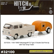 1968 VW Kombi Pickup and Teardrop Trailer - Greenlight Hitch and Tow - 1/64