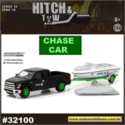 2015 Ford F-150 e Lancha Trailer Polícia CHASE CAR - Greenlight - 1/64
