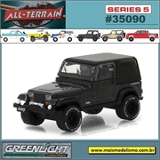 1990 - Jeep Wrangler Cinza Escuro - Greenlight - 1/64