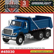 2017 - INTERNATIONAL WorkStar Dump Truck Azul - Greenlight - 1/64