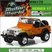 MW 17 - 1991 Jeep Wrangler Laranja - Greenlight - 1/64