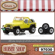 1991 - Jeep Wrangler YJ with Wheel and Tire Set - Greenlight - 1/64