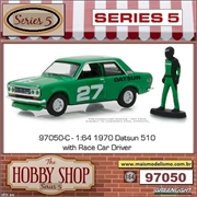 1970 - Datsun 510 with Race Car Driver - Greenlight - 1/64