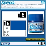 Tinta Gunze ACRYSION Color N  5 AZUL Brilho - Mr Hobby - 10ml