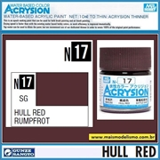 Tinta Gunze ACRYSION Color N 17 HULL RED Semi-Brilho - Mr Hobby - 10ml