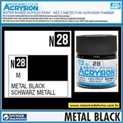 Tinta Gunze ACRYSION Color N 28 METAL BLACK Metálico - Mr Hobby - 10ml