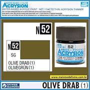 Tinta Gunze ACRYSION Color N 52 OLIVE DRAB (1) Semi-Brilho - Mr Hobby - 10ml