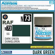 Tinta Gunze ACRYSION Color N 73 VERDE Escuro Semi-Brilho - Mr Hobby - 10ml