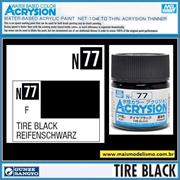 Tinta Gunze ACRYSION Color N 77 PRETO PNEU Fosco - Mr Hobby - 10ml