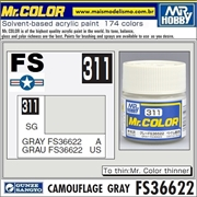 Tinta Gunze Acrílica Mr Color C311 CINZA FS36622 Semi-Brilho - 10ml