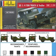 JEEP - US 1/4 TON Truck and Trailer - Heller - 1/35