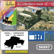 Jeep US 1/4 Ton Truck and Trailer - Kit Complete Heller - 1/72