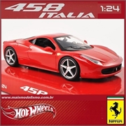 FERRARI 458 ITALIA Vermelha - Hot Wheels - 1/24