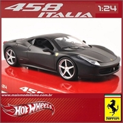 FERRARI 458 ITALIA Preto Fosco - Hot Wheels - 1/24