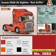 Caminhão SCANIA R560 V8 Highline Red Griffin - Italeri - 1/24