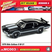 1970 - Olds Cutlass S W-31 Preto - Johnny Lightning - 1/64