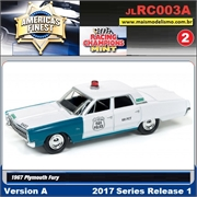 1967 - Plymout Fury Police Branco - Johnny Lightning - 1/64