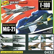 F-100 Super Sabre e MiG-21 - VALUE PACK 2 Kits Lindberg - 1/72