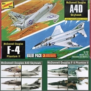 A4D Skyhawk e F-4 Phantom II - VALUE PACK 2 Kits Lindberg - 1/72