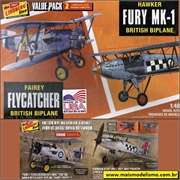 Hawker FURY Mk-1 e Fairey FLYCATCHER - VALUE PACK 2 Kits Lindberg - 1/48
