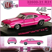 1970 - Oldsmobile CUTLASS 442 W-30 R31 Pink - M2 Machines - 1/64