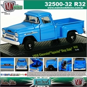 1958 - Chevrolet APACHE Step Side R32 Azul - M2M - 1/64