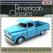 1958 - Chevy APACHE FLEETSIDE Pickup Azul - Motormax - 1/24