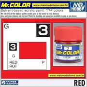 Tinta Gunze Laca Acr Mr Color C  3 VERMELHO Brilho - 10ml
