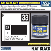 Tinta Gunze Acrílica Mr Color C 33 PRETO Fosco - 10ml