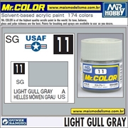 Tinta Gunze Acrílica Mr Color C 11 CINZA Light Gull Gray Semi-Brilho - 10ml