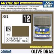 Tinta Gunze Laca Acr Mr Color C 12 OLIVE DRAB 1 Semi-Brilho - 10ml