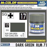 Tinta Gunze Acrílica Mr Color C 17 VERDE ESCURO RLM-71 Semi-Brilho - 10ml