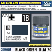 Tinta Gunze Acrílica Mr Color C 18 VERDE NEGRO RLM-70 Semi-Brilho - 10ml