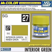 Tinta Gunze Acrílica Mr Color C 27 VERDE INTERIOR Semi-Brilho - 10ml