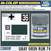 Tinta Gunze Laca Acr Mr Color C 36 VERDE CINZA RLM-74 Semi-Brilho - 10ml