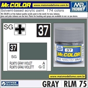 Tinta Gunze Laca Acr Mr Color C 37 CINZA VIOLETA RLM-75 Semi-Brilho - 10ml