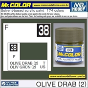 Tinta Gunze Acrílica Mr Color C 38 VERDE OLIVA DRAB (2) Fosco - 10ml