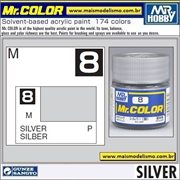 Tinta Gunze Laca Acr Mr Color C  8 PRATA Metálico - 10ml
