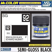 Tinta Gunze Laca Acr Mr Color C 92 PRETO Semi-Brilho - 10ml