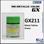Tinta Gunze  Mr Metallic Color GX-211 Verde Amarelado Metálico - 18ml