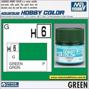 Tinta Gunze Acrílica H  6 VERDE Brilho - Mr Hobby - 10ml
