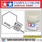 Tinta Acrílica Tamiya Mini X-35 - CLEAR Semi-Brilho - 10ml